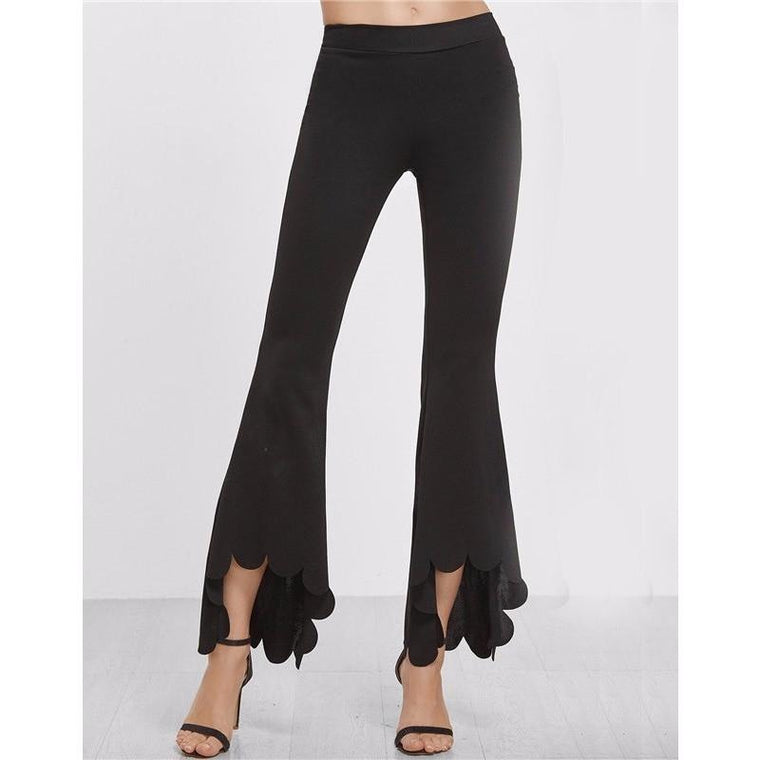 Scallop Hem High Low Flare Pants
