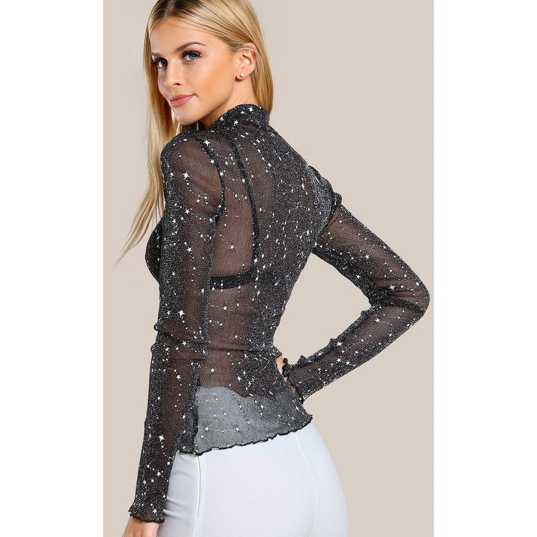 Starlight Glitter Mesh Mock Neck Top-Tops-PRIVATE CARTEL