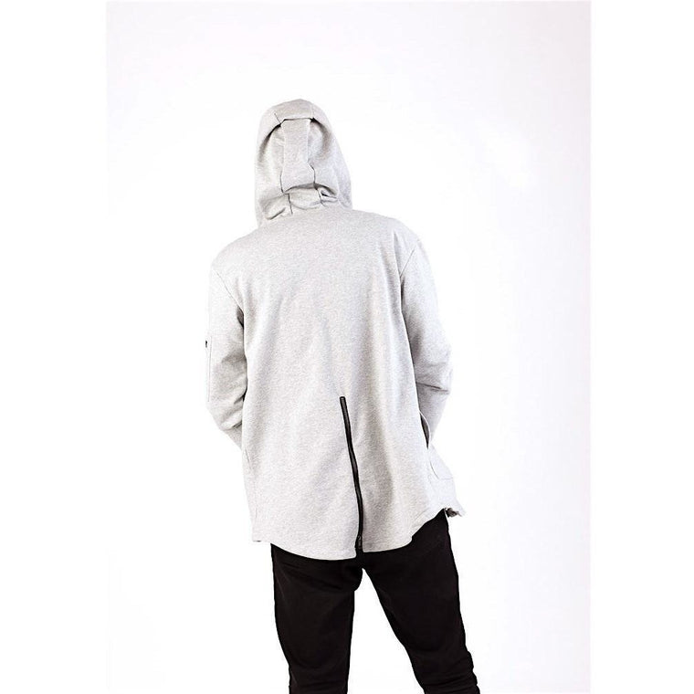 Trendy Grey High Low Zip Up Hoodie-Hoodies & Sweatshirts-PRIVATE CARTEL