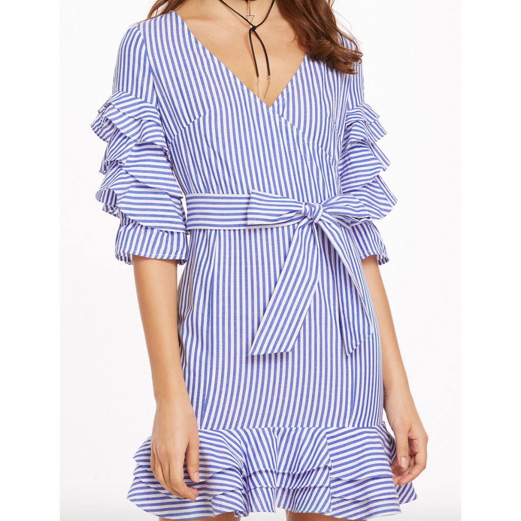 Wrap Front Striped Ruffle Dress with Tie Closure-Dresses-PRIVATE CARTEL