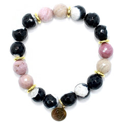 LuLu Beaded Gemstone Bracelet Grey/Pink - Kendry Collection Boutique Gemstone Bracelet Jewelry