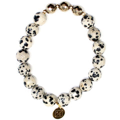Willa Dalmatian Jasper Beaded Bracelet - Kendry Collection Boutique Gemstone Bracelet Jewelry