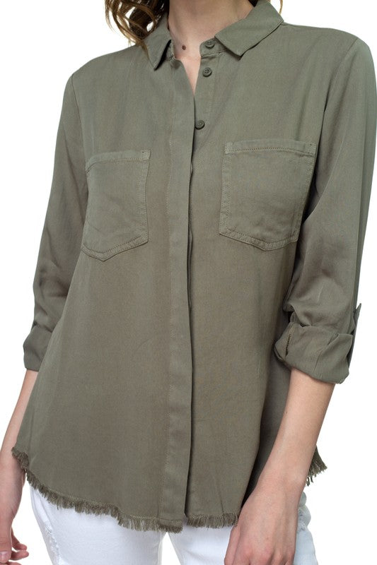 Olive Green Frayed Button Down