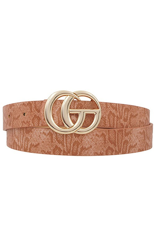 "Snakeskin GG Belt - Clay 1"" - Kendry Collection Boutique"