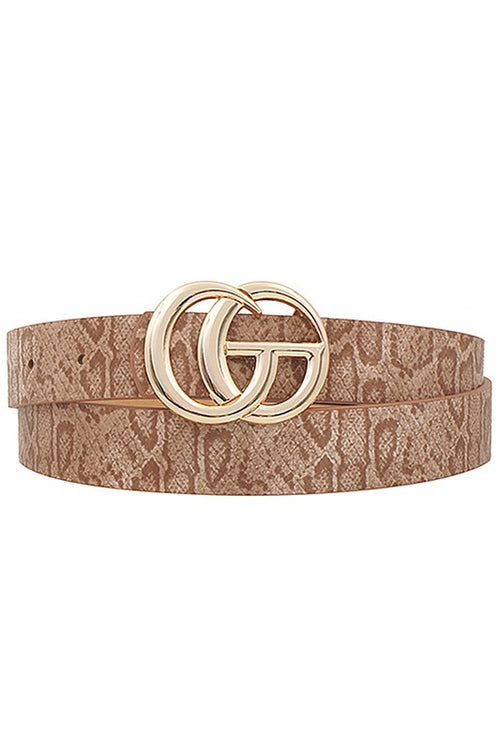 "Snakeskin GG Belt - Taupe 1"" - Kendry Collection Boutique"