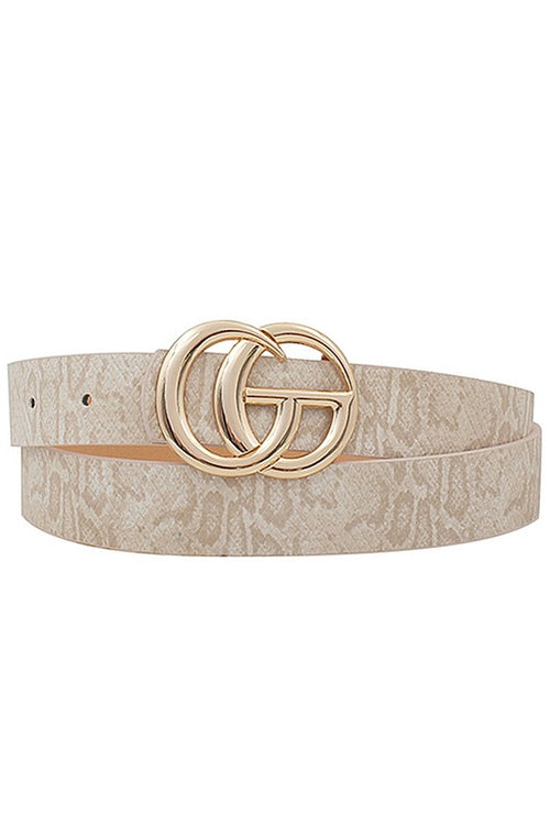 Snakeskin GG Belt - Ivory - Kendry Collection Boutique
