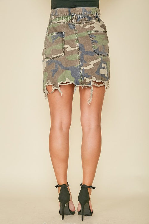Distressed Camo Elastic Waist Skirt