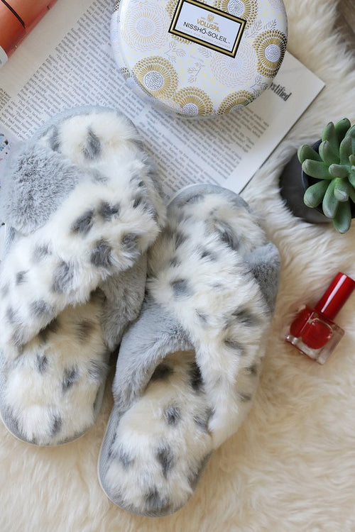 Grey Leopard Faux Fur Criss Cross Slippers