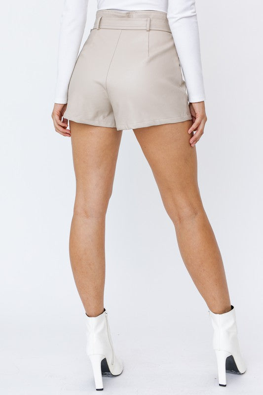 Cream High Waisted Faux Leather Shorts - Kendry Collection Boutique