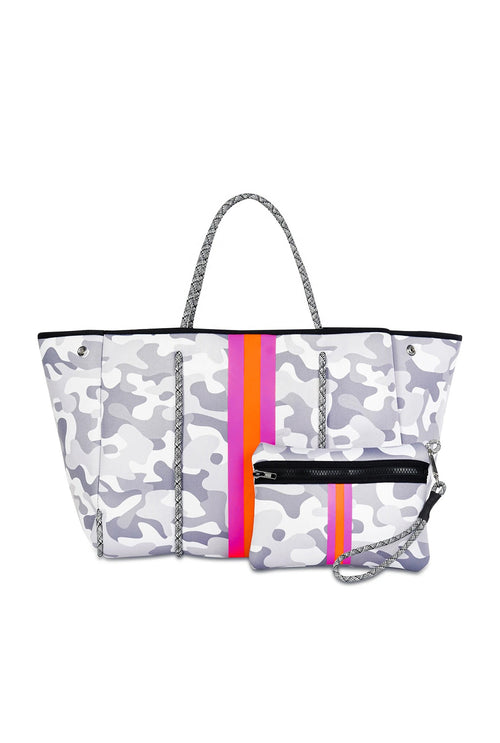 White Camo And Pink Stripe Neoprene Tote Bag - Shop Kendry Collection Boutique