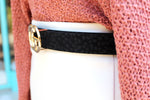 "1"" Faux Fur Leopard GG Belt - Black - Kendry Collection Boutique"