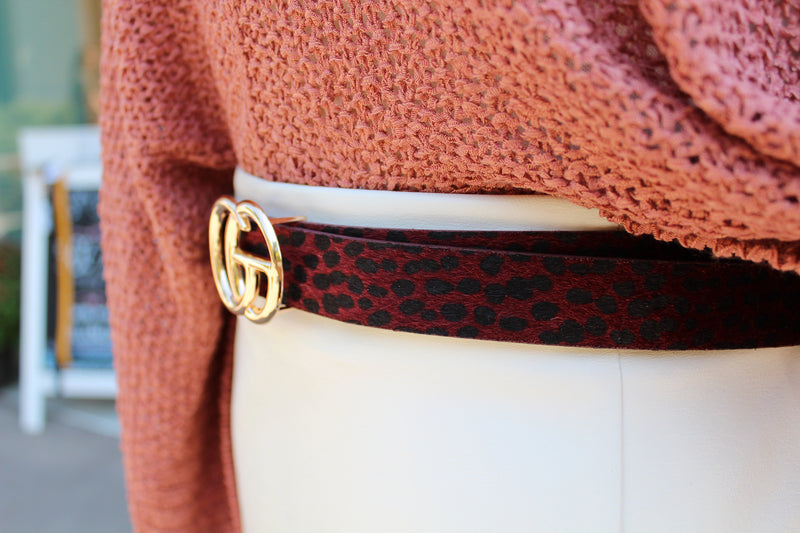 "1"" Faux Fur Leopard GG Belt - Burgundy Red - Kendry Collection Boutique"