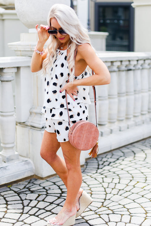 White Polka Dot High Neck Ruffle Romper - Shop Online Kendry Collection Boutique