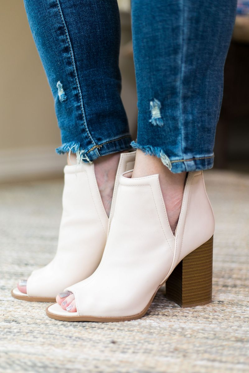Brammer Off White Peep Toe Heeled Bootie