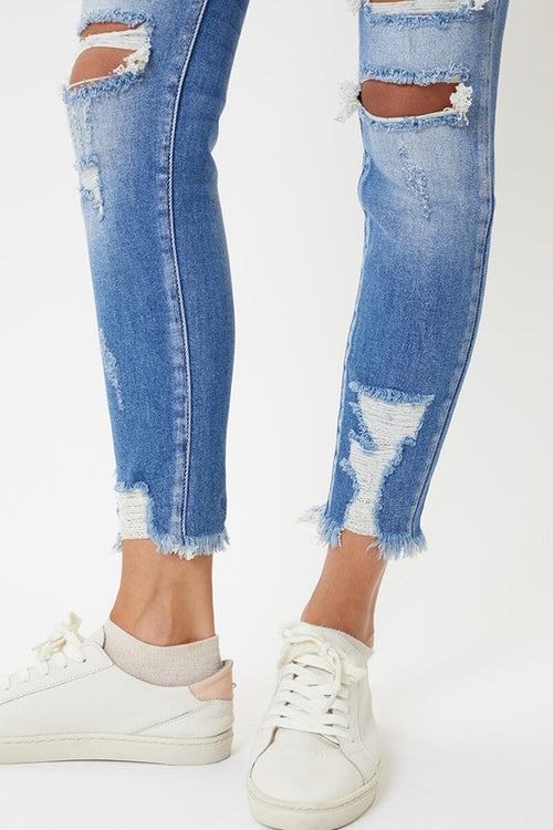 Layla High Rise Distressed Ankle Skinny Jeans - Medium Wash