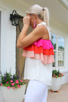 All About It Pink Ruffle Tank Top