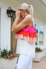 All About It Taupe Ruffle Tie Top