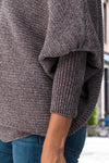 Softest Knit Sweater, Dolman Sleeves, Oversized Sweater, Grey Sweater, Gray Sweater, Winter Fashion, Chenille Sweater, Ribbed Sweater, Chenille Fitted Sleeve Sweater, Women's Trendy Boat Neck Polyester Sweater, Bateau Neckline, The Softest Knit Sweater, Fitted Dolman Sleeves, Oversized For Comfort - Buy Sweater Tops For Women Online At Kendry Collection Boutique
