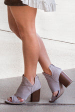 All The Love Cutout Heeled Booties - Gray