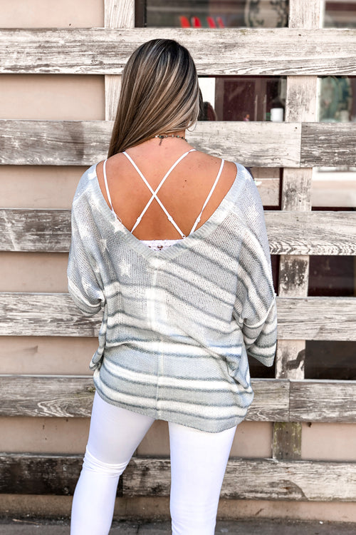 Grey American Flag Knit Oversized Sweater - Shop Kendry Collection Boutique