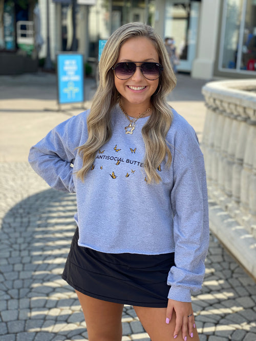 Anti Social Butterfly Grey Cropped Pullover - kendry Collection Online Boutique