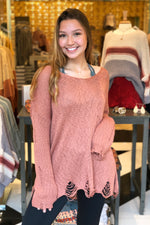 As You Wish V-neck Distressed Knit Sweater - Ginger