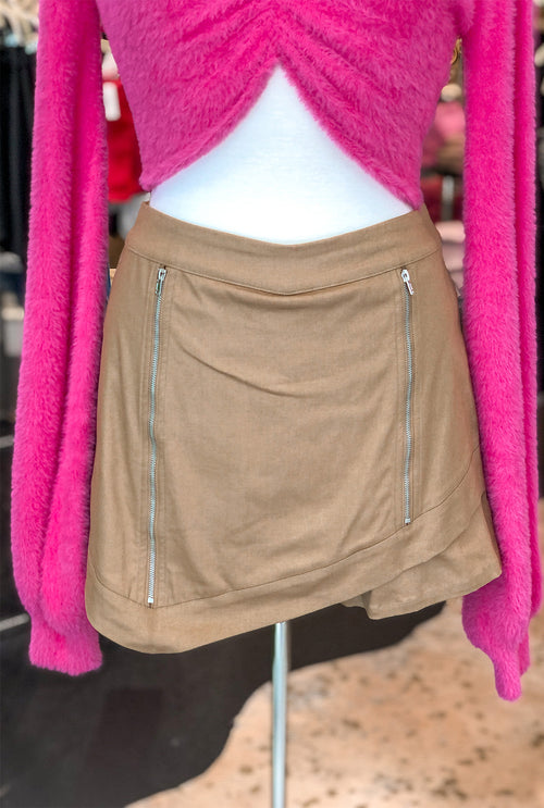Asymmetrical Tan Zipper Mini Skirt - Shop Kendry Collection Boutique