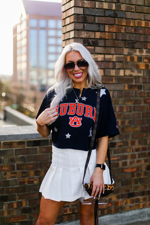 Auburn Game Day Cropped Glitter Star T-Shirt - Shop Kendry Collection Boutique