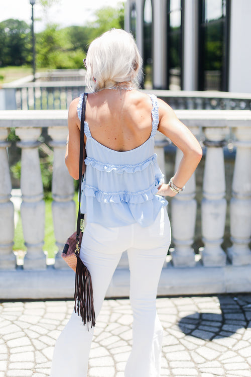 Baby Blue Ruffle Tank Top