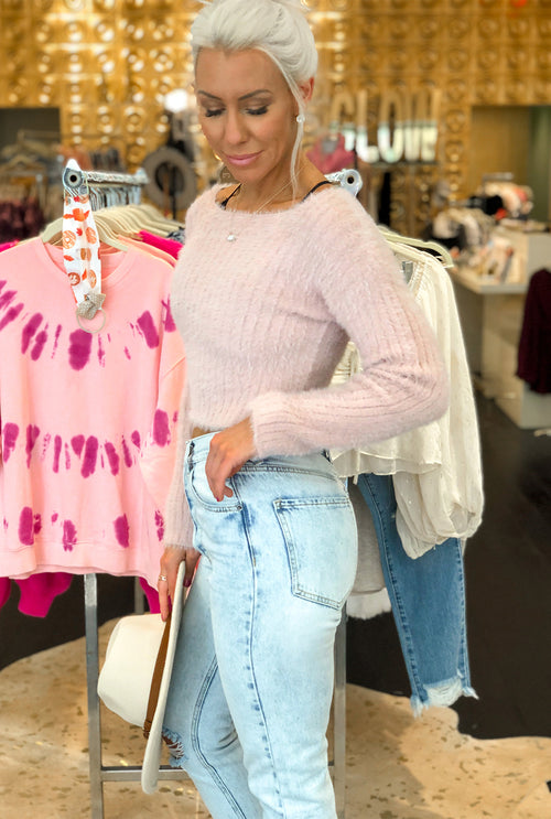 Baby Pink Fuzzy Fitted Sweater Top- Kendry Collection Boutique Online