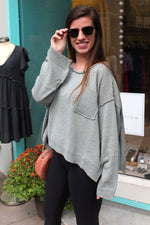 Be Cool Front Pocket Knit Sweater - Sage Green - Kendry Collection Boutique
