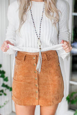 Be With Me Corduroy Button Skirt - Tan