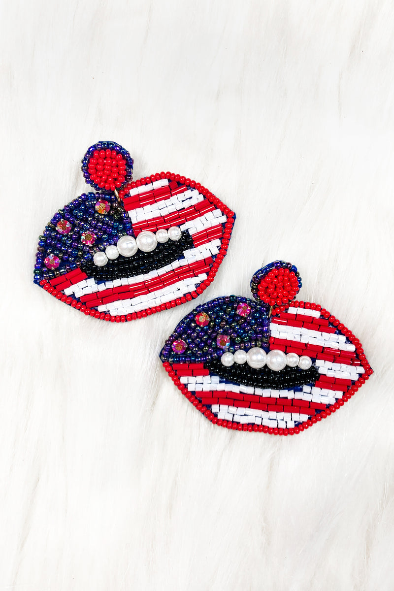 USA American Flag Lip Beaded Earrings - Kendry Collection Boutique