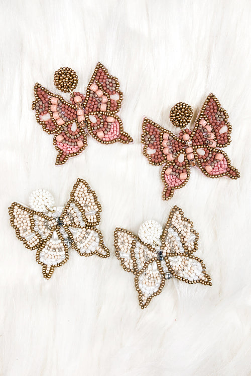 Beaded Butterfly Statement Earrings - Kendry Collection Boutique