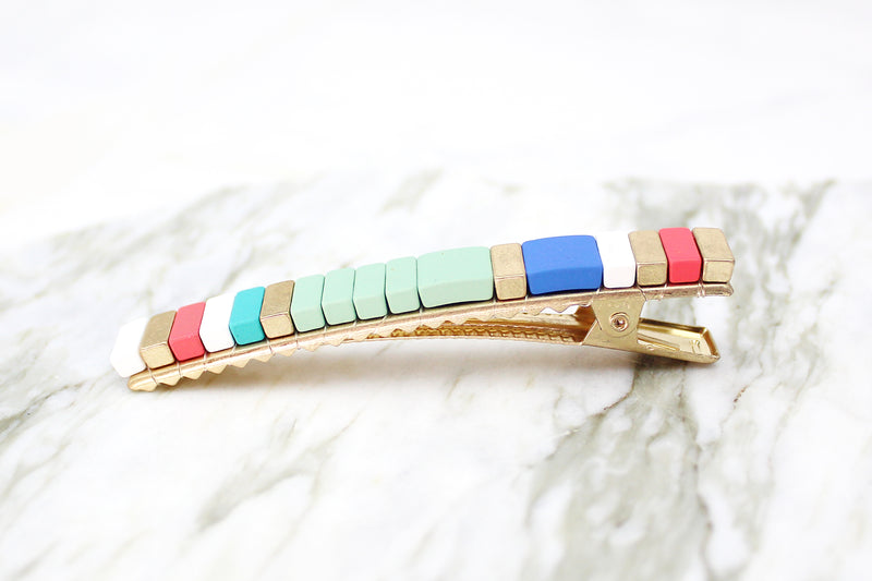 Beaded Color Block Hair Clip - Mint Green and Gold, Stacking Block Hair Clips, Color Block Barrettes, Color Block Style, Colorful Hair Clips - Shop Trendy Hair Accessories At Kendry Collection Boutique