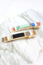 Beaded Color Block Hair Clip - Black and Gold, Stacking Block Hair Clips, Color Block Barrettes, Color Block Style, Colorful Hair Clips - Shop Trendy Hair Accessories At Kendry Collection Boutique