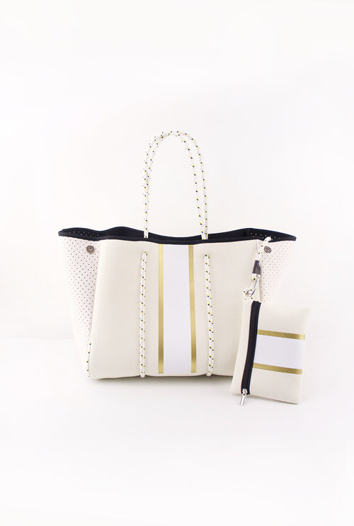 Beige And Gold Stripe Neoprene Tote Bag - Kendry Collection Boutique