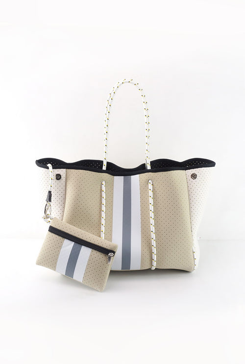 Beige And Silver Stripe Neoprene Tote Bag - Shop Kendry Collection Boutique