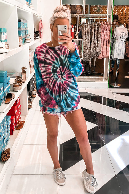 Black And Pink Tie Dye Sweatshirt - Kendry Collection Online Boutique