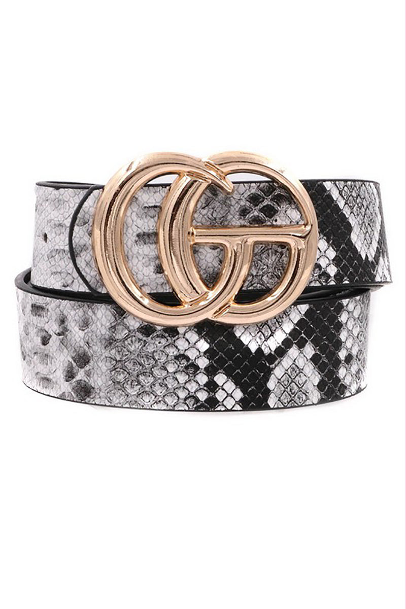 "1/14"" Black And White Snakeskin GG Belt - Shop Cute Accessories Online At Kendry Collection Boutique"
