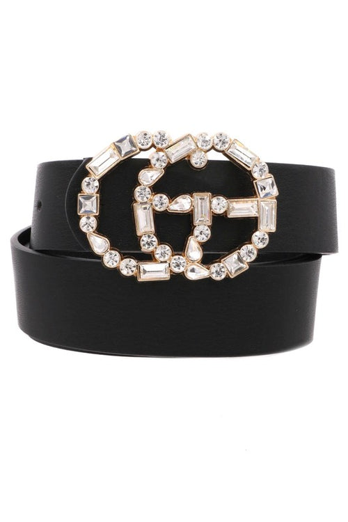Black Faux Leather G Belt With Mixed Rhinestone Buckle