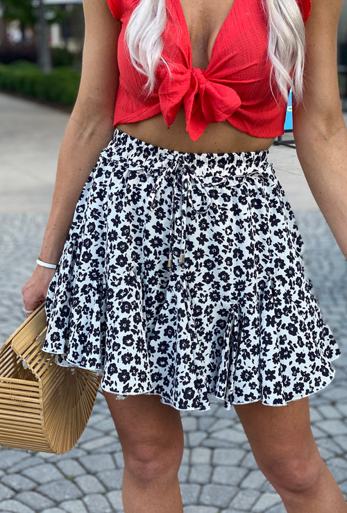Black Floral Ruffle Mini Skirt