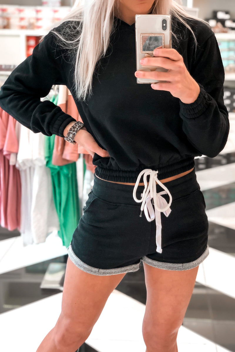 Black Drawstring Waist Cropped Hoodie Two Piece Lounge Set - Kendry Collection Boutique