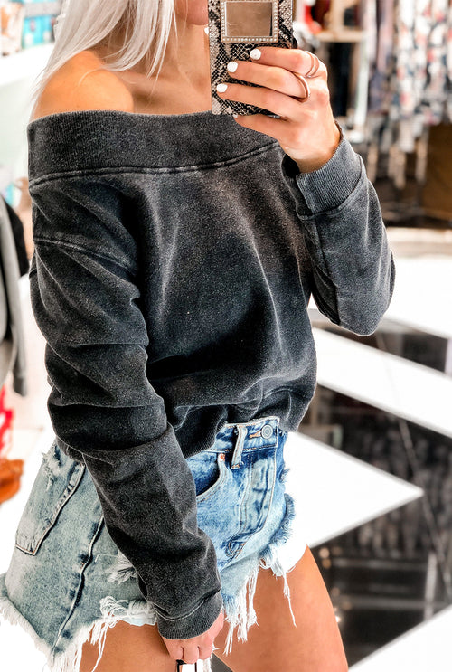 Black Off The Shoulder Mineral Wash Pullover - Shop Kendry Collection