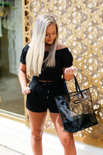 Black Off The Shoulder Two Piece Shorts Set - Shop Kendry Collection