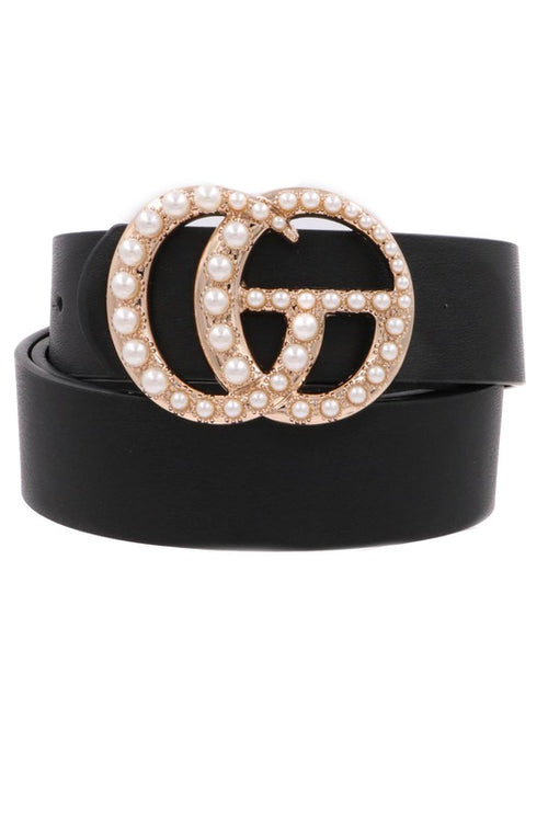 Black Pearl Studded G Belt - Kendry Collection Boutique