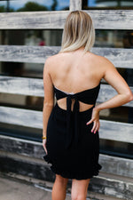 Black Ruffle Hem Strapless Mini Dress - Kendry Collection Boutique