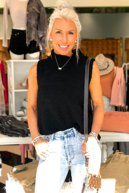 Black Sherpa Sleeveless Turtleneck Top- Kendry Collection Boutique