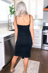 Black Front Slit Midi Dress - Kendry Collection Boutique