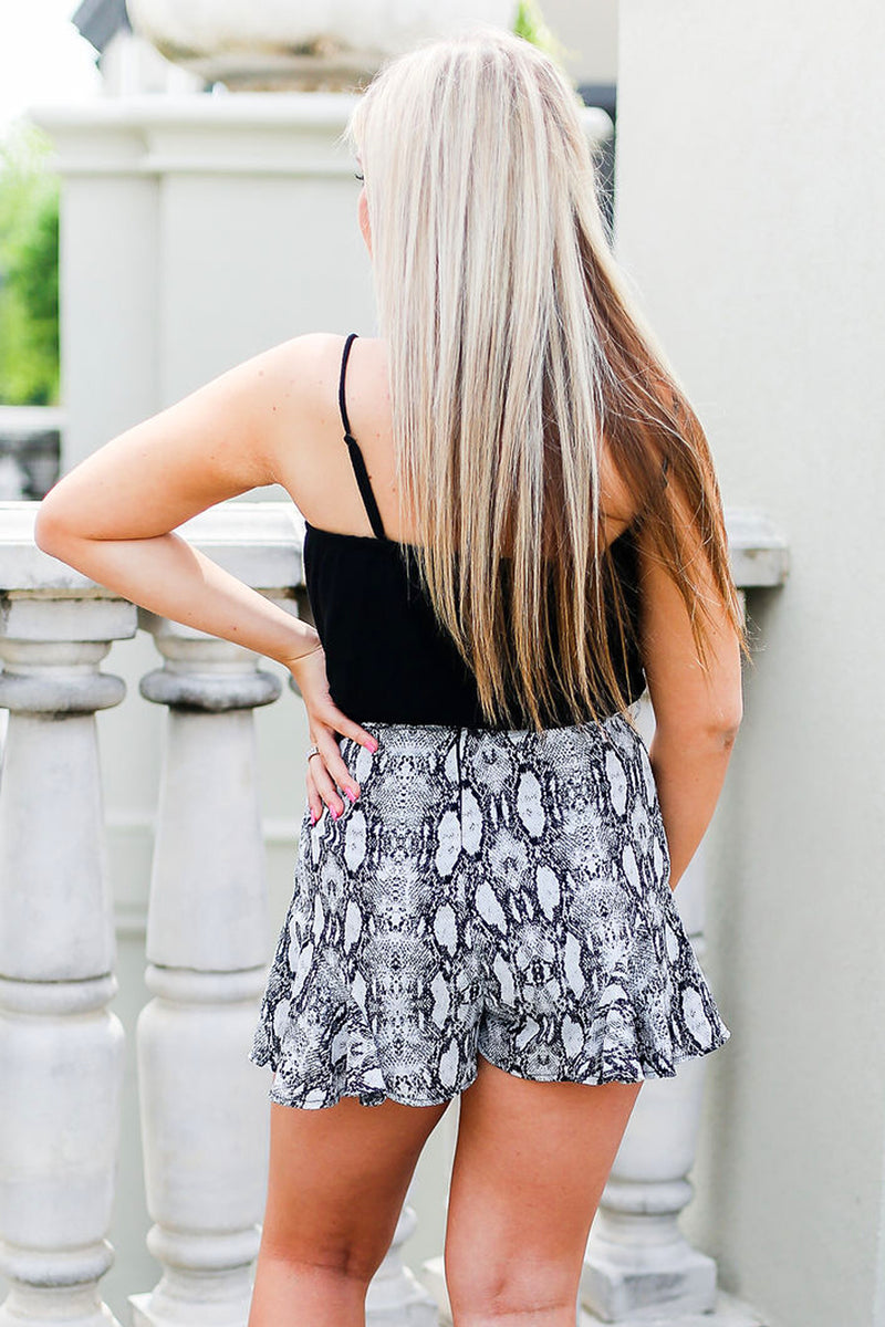Black Snakeskin Ruffle Tie Shorts - Shop Kendry Collection Boutique